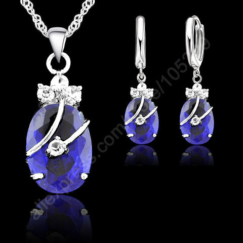 Flower Water Drop Hot Sterling Silver Jewelry Sets Cubic Zironia Pendant Necklace Earring Jewellery
