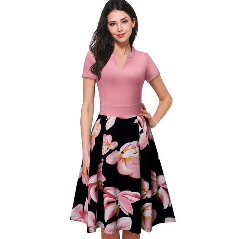 Vintage Print Floral Patchwork V-Neck Women Casual Office Dress Short Sleeve Summer Dress