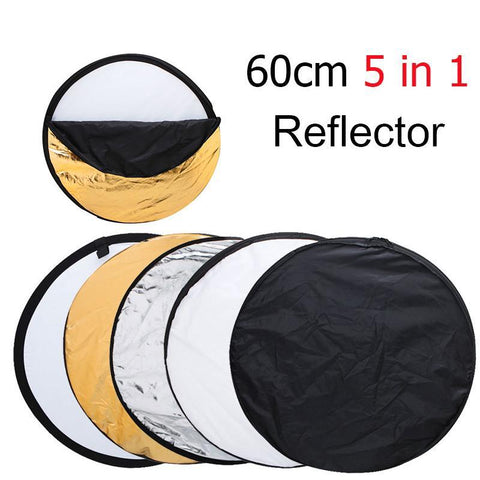 5 in 1 Portable Collapsible Light Round Photography Reflector for Studio Multi Photo Disc - Babiesrhere