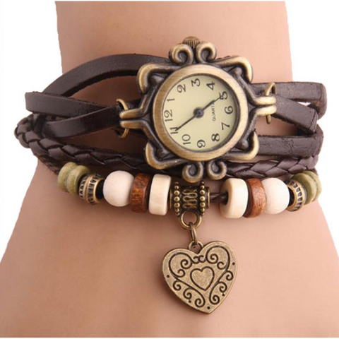 Heart Vintage Wrap Watch (Shipped From USA) - babiesrhere