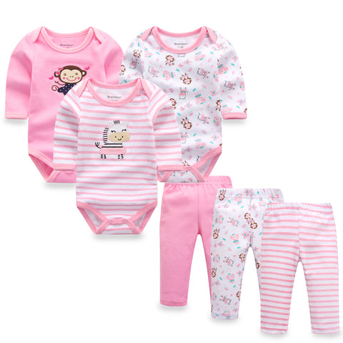 6pcs/lot Baby Girl Newborn Toddler Infant Autumn/Spring Cotton Rompers+ Pants