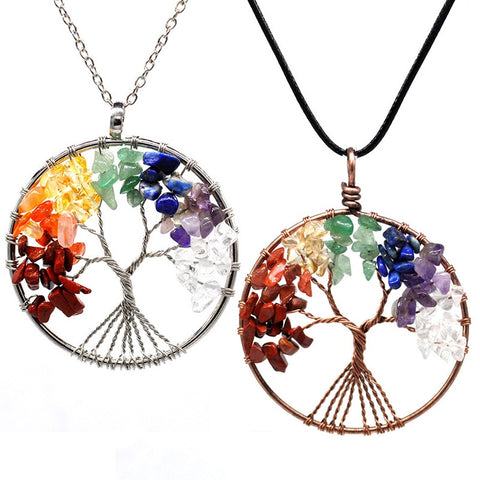 7 Chakra Stones Crystal necklaces Pendants Natural Stone Tree of Life Pendulum Jewelry - babiesrhere