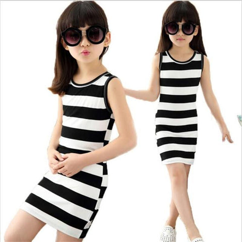 Girls dresses in black and white stripes 100% Cotton