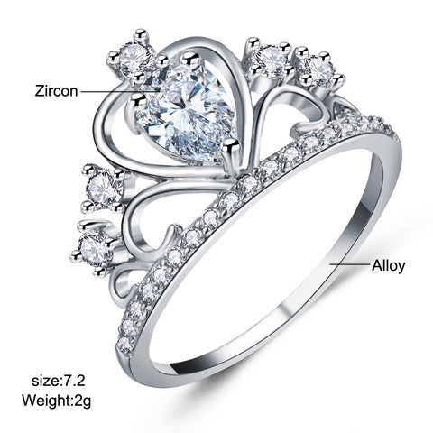 Crystal Heart Crown Rings For Women New Lover Cubic Zirconia Ring
