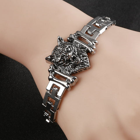 Fashion Punk Wolf Head Stainless Steel Charm bracelet for Women & Bangles Charms Bracelets Men