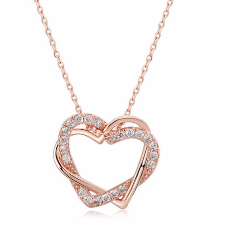 Top Heart to Heart Rose Gold Color Pendant Necklace Jewelry Made with Austria Crystal - babiesrhere