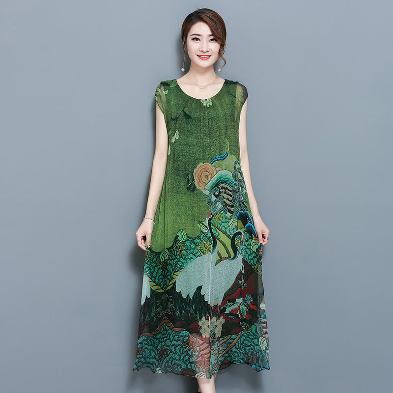 Summer Green Dresses with Sleeves