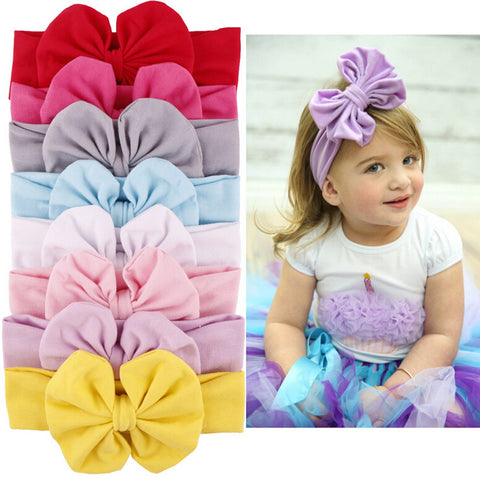 New Girls Kids Baby Big Bow Hairband Good Quality Headband Stretch Turban Knot Head Wrap Hats & Caps - babiesrhere