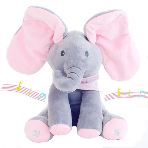 30cm Play Music Elephant 2017 Electric Elephant Peek a boo Plush Soft Toy Animal Stuffed Doll Play - babiesrhere
