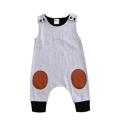 Newborn Kids Baby Boy Girl Infant Sleeveless Patchwork Shoulder Button Jumpsuit Clothes Outfit - babiesrhere