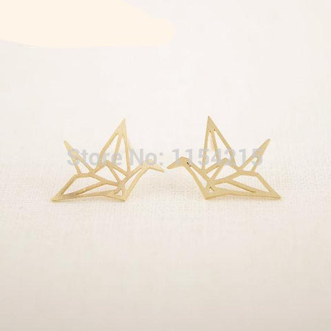 New Fashion Trendy Hollow Cute Origami Earrings for Women Copper Alloy Jewelry New Year Gift