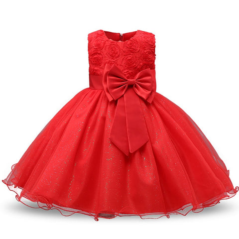 Girls O-neck Dresses Summer 2017 Sequined Floral Children Ball Gown Party Clothing Toddler KidsDress