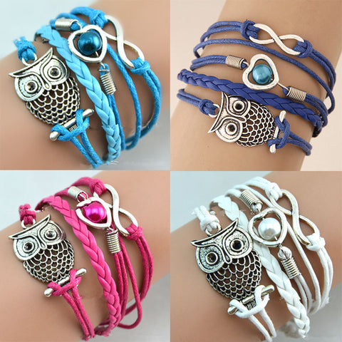 Hot 1 Pc Women Fashion Charming Infinity Friendship Multi layer Charm Leather Bracelets Jewelry
