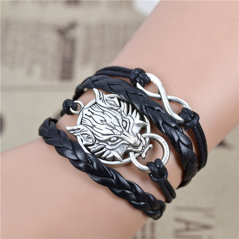 Handmade Infinity Wolf Black Weave Leather Wax Rope Bracelet Best Friendship Gift