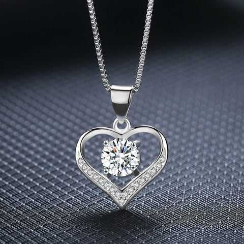 Fashion Jewelry Trendy Heart Pendant Necklace For Women Delicate Chain Valentine's Day - babiesrhere