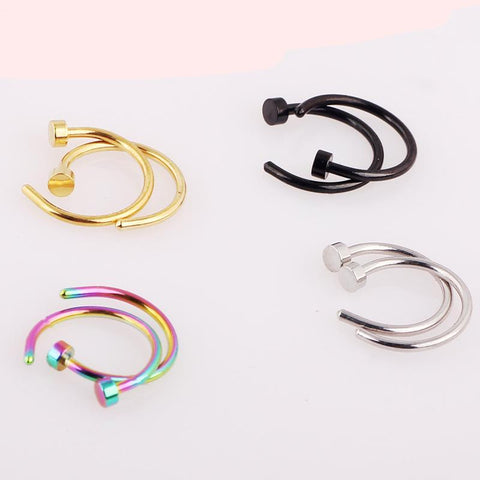 2pcs Body Ring Fake Jewelry 7 Colors Women Nose Hoop Nose Rings clip on nose Body Jewelry - Babiesrhere