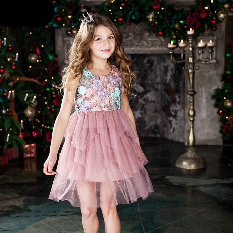 Kids Girl Ball Gown Dress Toddler Summer Lace 6 8 10 12 Year Princess Birthday Party