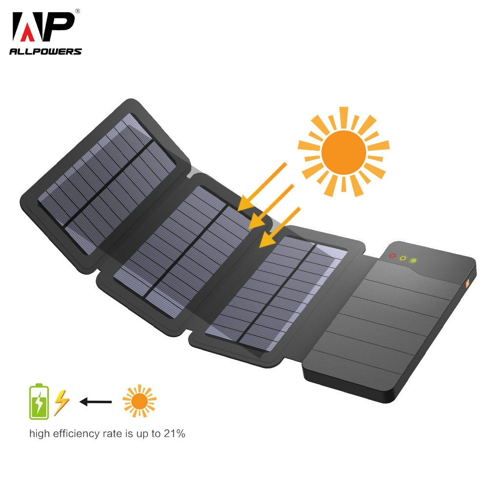 Solar Power Bank 10000mAh Portable Solar Phone Charger External Battery for  iPhone Sony Huawei LG