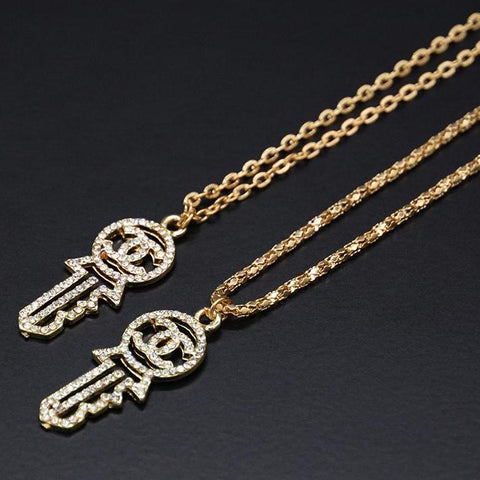 Alloy Gold Color Sweet Micro Inlay Crystal Key Letter Shape Necklace For Women - Babiesrhere