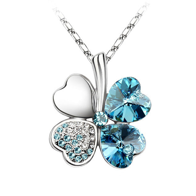fb5b9419cde725 ... Anngill Four Leaf Clover Pendant Necklace Crystals From Swarovski  Elements Quality Jewelry Women - Babiesrhere ...