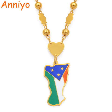 Mokil Atoll Flag Pendant Beads Chain Necklaces Women Men,Stainless Steel and Enamel Jewelry - babiesrhere