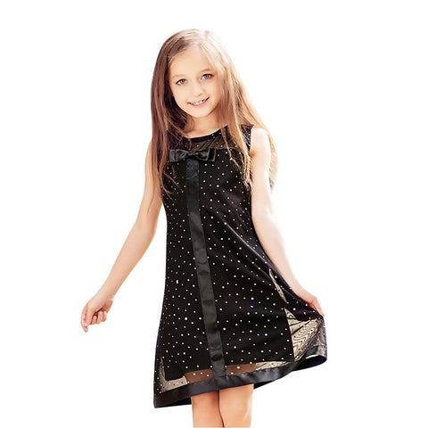 Girls Dresses Black Cute Bowknot Sequined Decoration Dress size 6-16T Party - babiesrhere