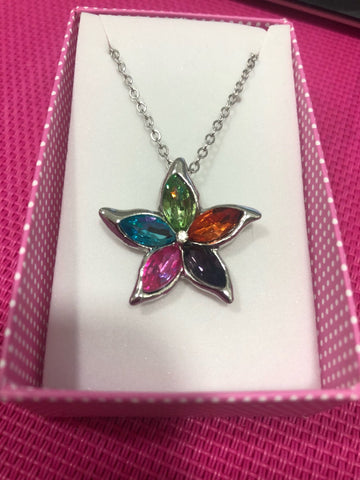 Austrian crystal Bauhinia five leaf leaves pendant necklace fashion jewelry accessories - babiesrhere