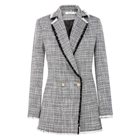 Women Sweet Double Breasted Female Long Sleeve Ladies Office Casual Blazer Jackets Coat