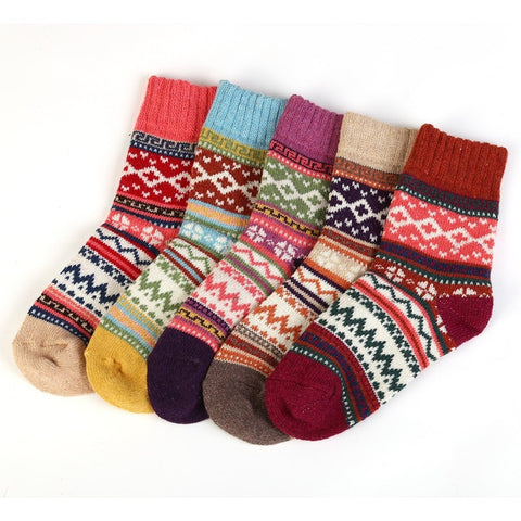 Autumn Winter Thicker Warm Womens Socks Sweet Colorful Multi Pattern Wool Floor Socks - babiesrhere