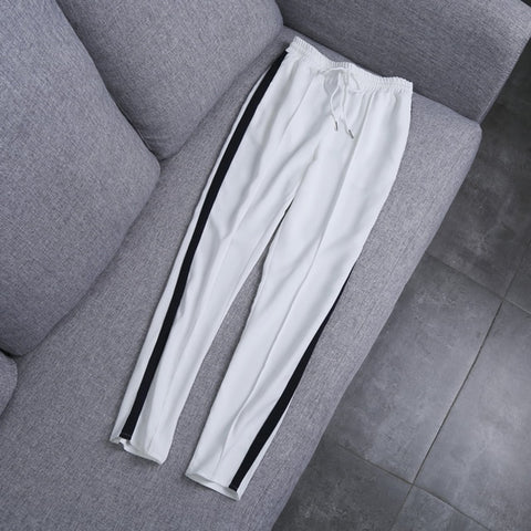 Women Casual Side Striped Pencil Pant Female Elastic High Waist Fashion Pant Girls - babiesrhere
