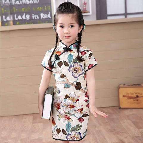 Baby Fashion Chinese New Year Children Clothes Girls Outfits Floral Dress - babiesrhere