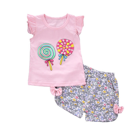 Summer baby girl clothing sets children clothing tops+shorts girl clothes sport tracksuit