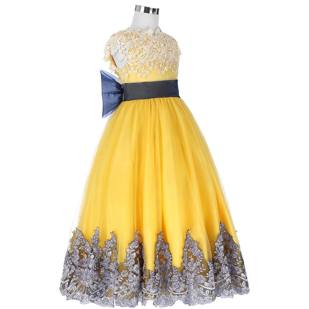 Girls Dresses Pricess Ball Gown Yellow Flower Girl Dresses for ...