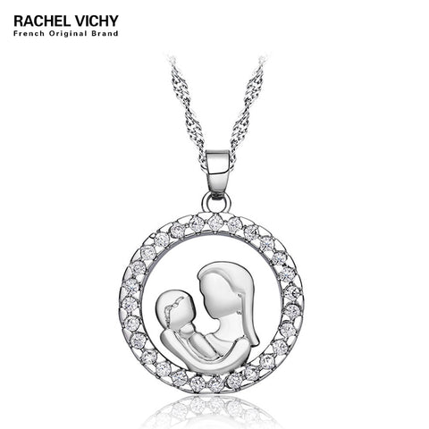 Fashion Mom And Baby Shape Pendant Necklace High Quality Mom Silver Birthday Jewelry - babiesrhere