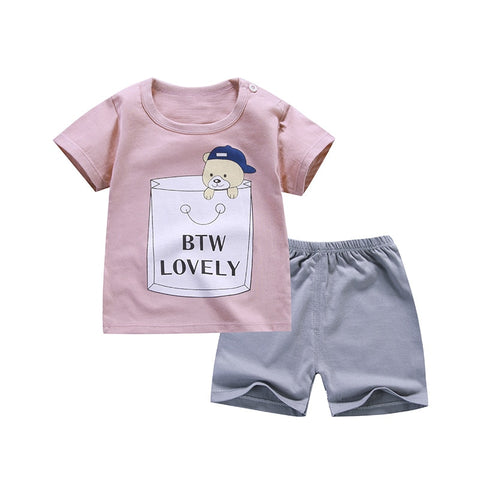 Cartoon New Style Infant Clothes Baby Girls Clothing Cotton Short Sleeve Baby Boy Clothes - babiesrhere