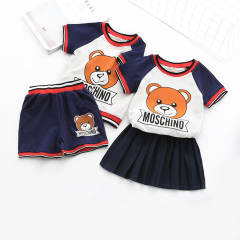Children Spring Cotton Cartonn thsirt and short Pants or Skirt 2pcs for Baby Boy and Girl Clothes - babiesrhere