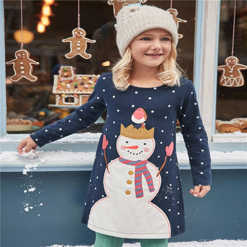Children girls dresses applique clothing dresses girl snowman long sleeve kids clothes - babiesrhere