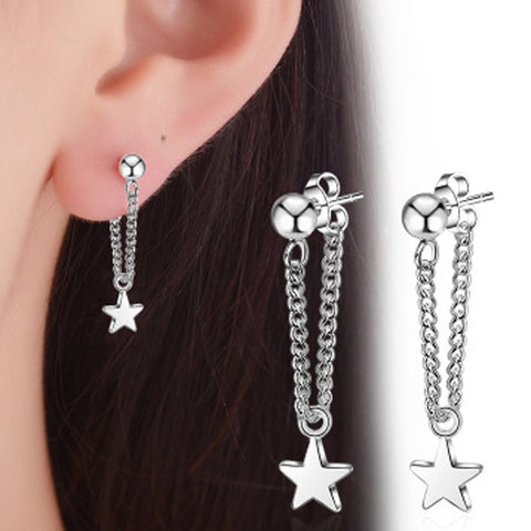 Fashion Exquisite Silver Alloy Pentagram Anti-Allergy Earrings For Women Party Wedding Jewelry