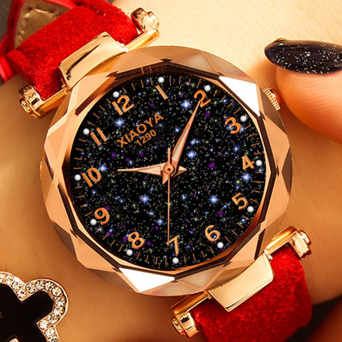 Fashion Women Best Sell Star Sky Dial Clock Luxury Rose Gold Women Quartz Watches - babiesrhere