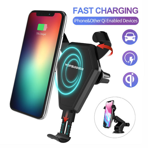 Fast Wireless Car Charger Stand Phone Holder Cradle for iPhone 8/8 Plus/X Only(7.5W)