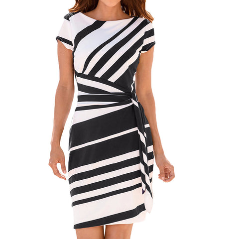 O neck stripe sash summer office women Wrap style pencil short Streetwear casual dress