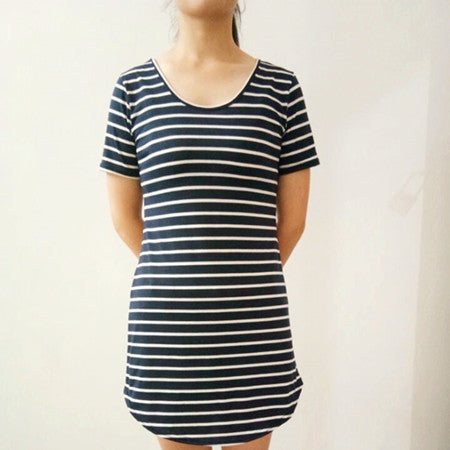 Female Work Sundress Loose Black White Striped Dress Woman High ...
