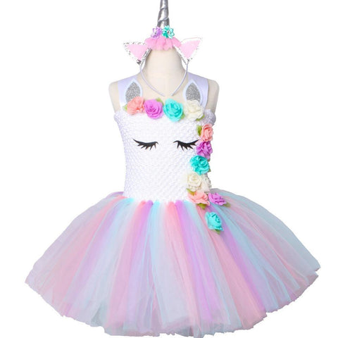 Flower Rainbow Princess Girls Birthday Party Dress Children Kids Halloween Unicorn Costume 1-14Y