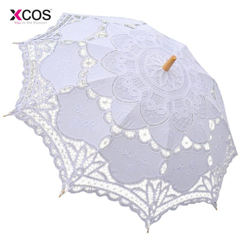 Lace Manual Opening Wedding Umbrella Bride Parasol Umbrella Accessories For Wedding - babiesrhere