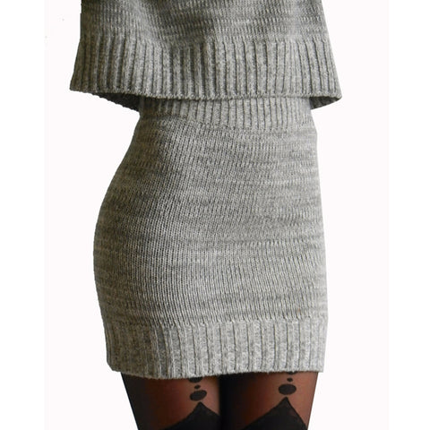 Winter 2 Pieces Sweater Women Long Sleeve Office Wear Casual Gray Pullover Dress Set