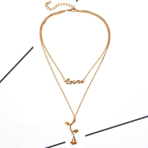 Golden Silver Women Double Layer Necklace & Pendant Rose Multi Layer Sweater Chain