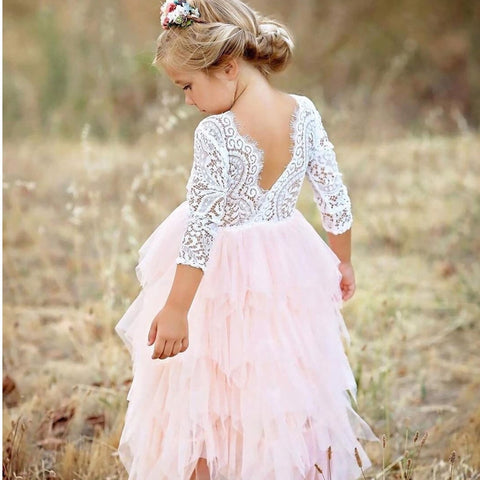 Little Girls Ceremonies Dress Baby Children's Clothing Tutu Kids Party Dress for Girl Clothes Wedding Gown Vestidos Robe Fille - babiesrhere