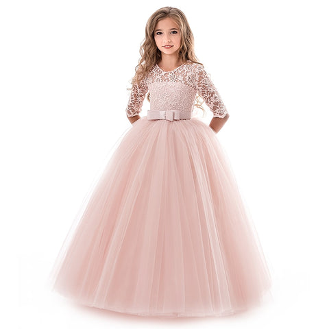 Summer Girl Lace Dress Long Tulle Teen Girl Party Dress Elegant Children Clothing Kids Dresses For Girls Princess Wedding Gown - babiesrhere