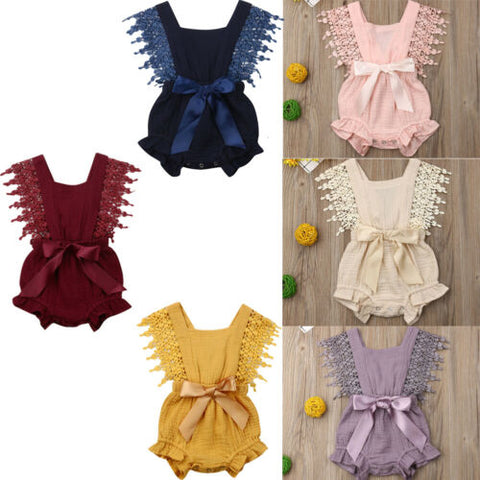 Fashion Newborn Baby Girl Cotton Linen Solid Bow-knot Romper Lace Loose Casual Sleeveless Outfit Clothes - babiesrhere