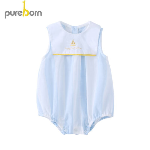Pureborn Baby Bodysuit Sailor Cotton O-neck Sleeveless Clothes Baby Boys Girls Jumpsuit Infant Overalls Newborn Summer Clothing - babiesrhere
